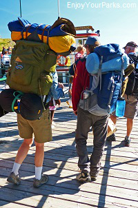 Backpackers at Waterton Park Marina, Waterton Park Townsite, Waterton Lakes National Park