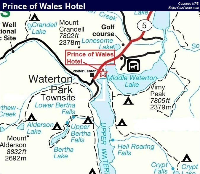 Prince of Wales Hotel Map, Waterton Lakes National Park Map