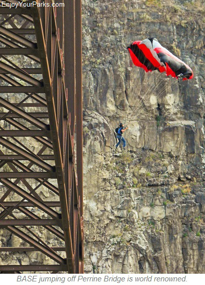 BASE Jumper on Perrine Bridge, Idaho Falls