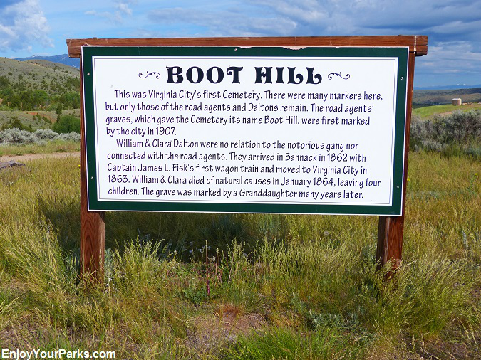 Boot Hill Sign, Virginia City Montana