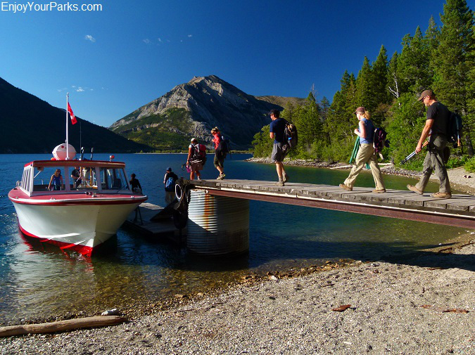 Connie Marlene picking up hikers at Crypt Landing, Crypt Lake Trail, Waterton Lakes National Park