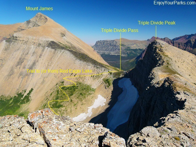 A view of Triple Divide Pass from the ridge between Triple Divide Peak and Norris Mountain, Glacier National Park