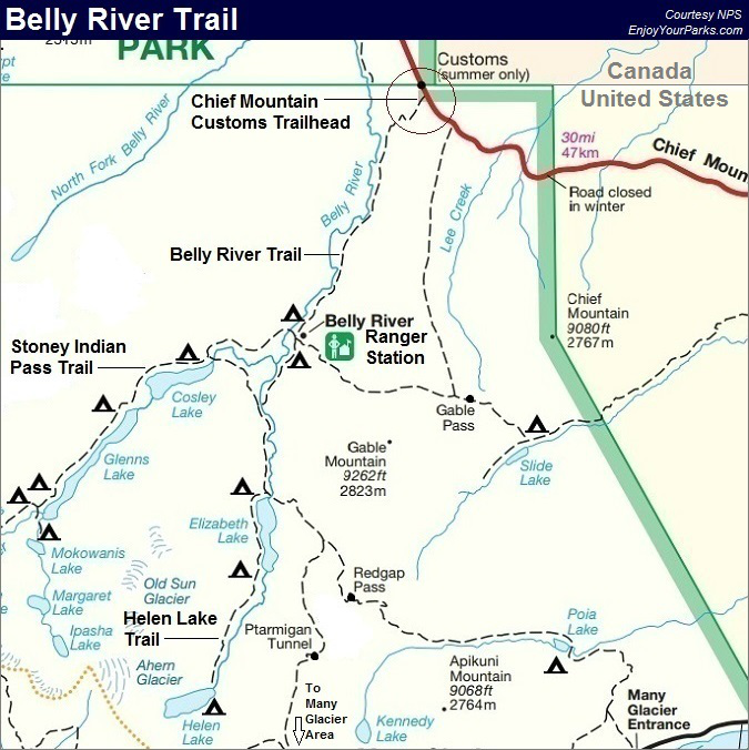 Belly River Trail Map, Glacier National Park Map