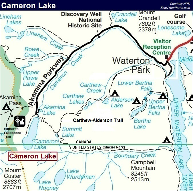 Cameron Lake Map, Waterton Lakes National Park
