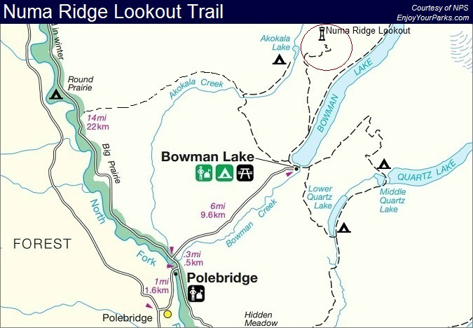 Numa Ridge Lookout Trail Map, Glacier National Park Map