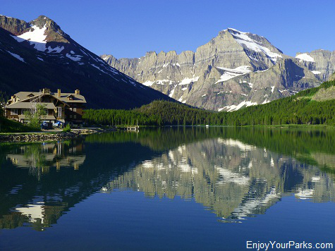 Many Glacier Hotel with Mount Gould, Glacier National Park