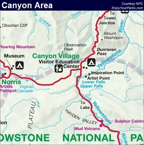 Grand Canyon of the Yellowstone Map, Yellowstone Park Map