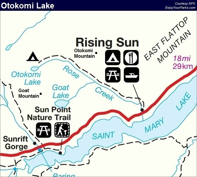 Otokomi Lake Trail Map, Glacier National Park Map