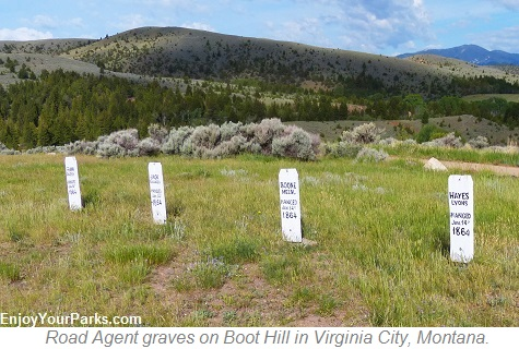 Road Agents Tombstones on Boot Hill, Virginia City Montana