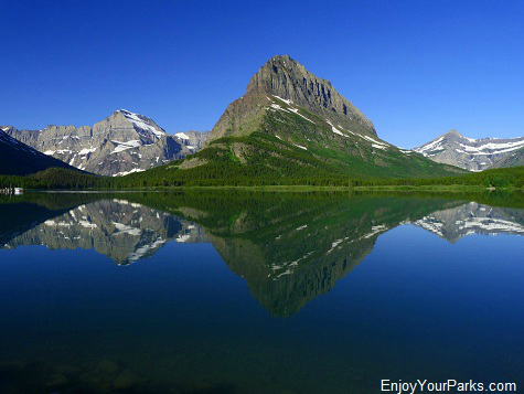 Swiftcurrent Lake with Mount Gould, Grinnell Point and Swiftcurrent Mountain, Many Glacier Area, Glacier National Park