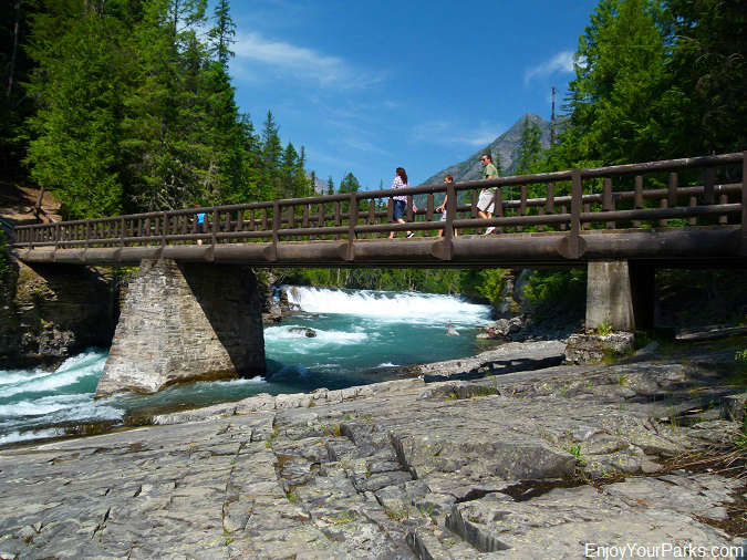 McDonald Creek foot bridge near Sacred Dancing Cascades, Johns Lake Loop Trail, Glacier National Park