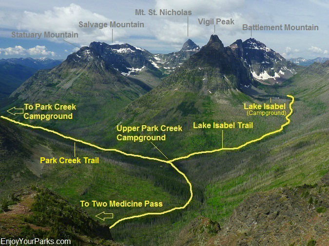 Park Creek Valley as viewed from Two Medicine Pass, Glacier National Park