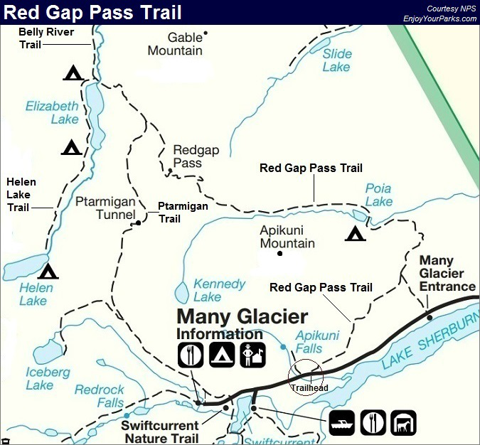 Red Gap Pass Trail Map, Glacier National Park