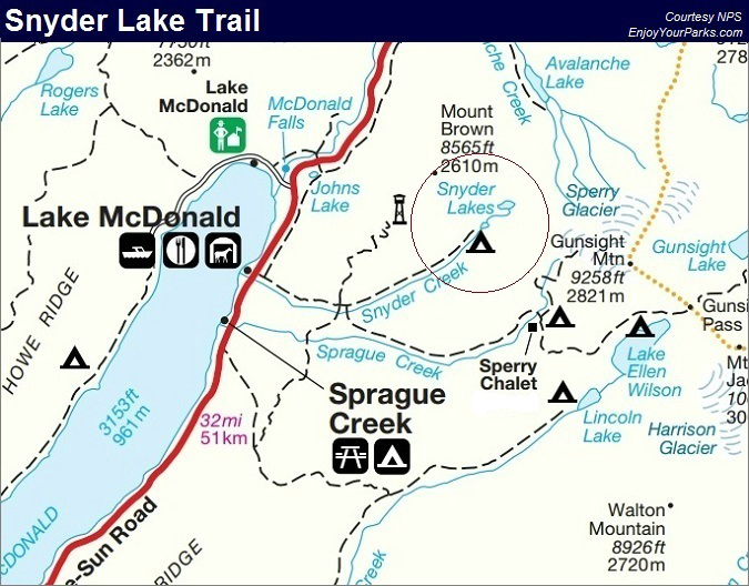 Snyder Lake Trail, Glacier National Park Map