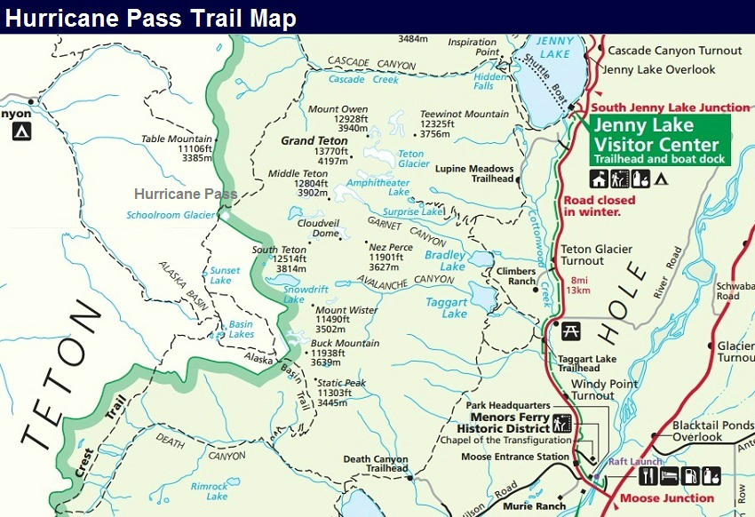 Hurricane Pass Trail Map, Grand Teton Trail Map