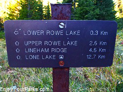 Rowe Lakes trail sign, Waterton Lakes National Park