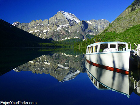 Wooden Boat Morning Eagle, Lake Josephine, Many Glacier Area, Glacier National Park