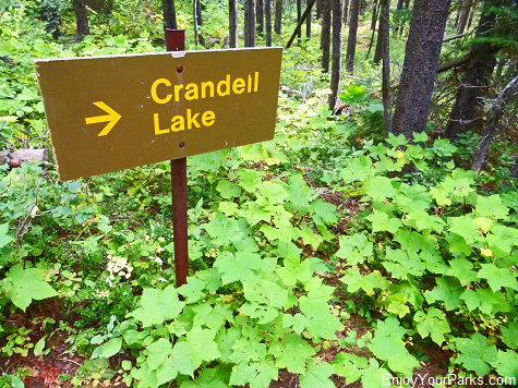Crandell Lake sign, Waterton Lakes National Park