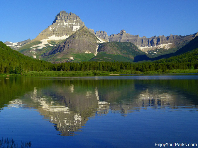View of Mount Wilbur from Swiftcurrent Lake Trail, Many Glacier Area, Glacier National Park