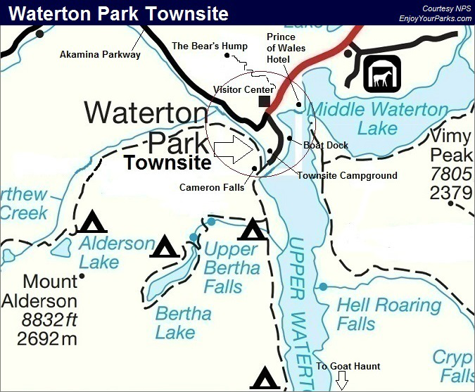 Waterton Park Townsite Map, Waterton Lakes National Park Map