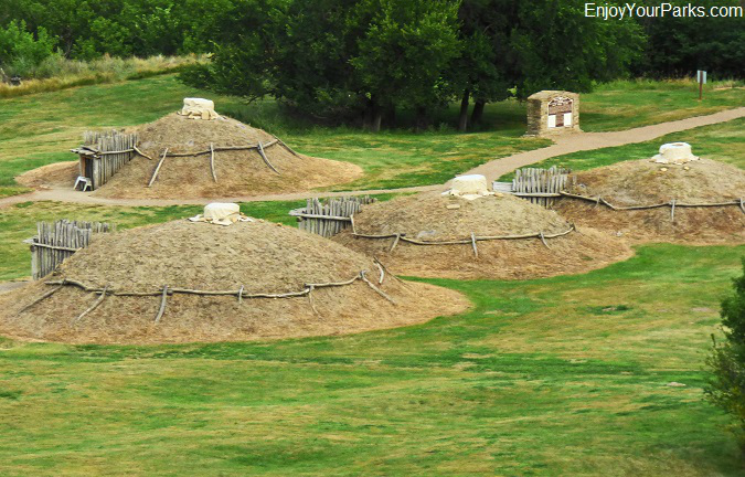 Earth lodges at the On-A-Slant Indian Village at Fort Abraham Lincoln State Park, North Dakota