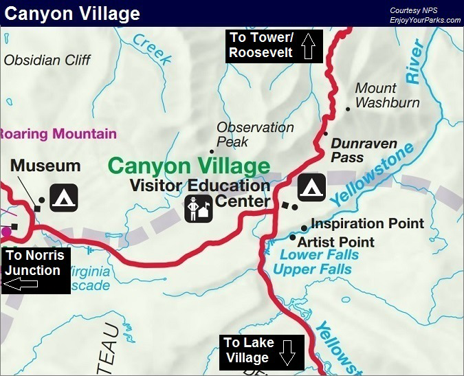Canyon Village Map, Yellowstone Park Lodging Map