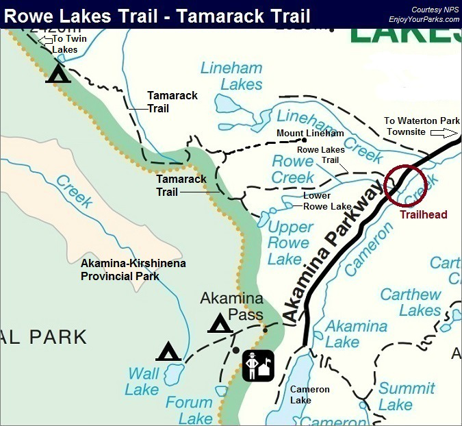 Rowe Lakes Trail Map, Tamarack Trail Map, Waterton Lakes National Park Map