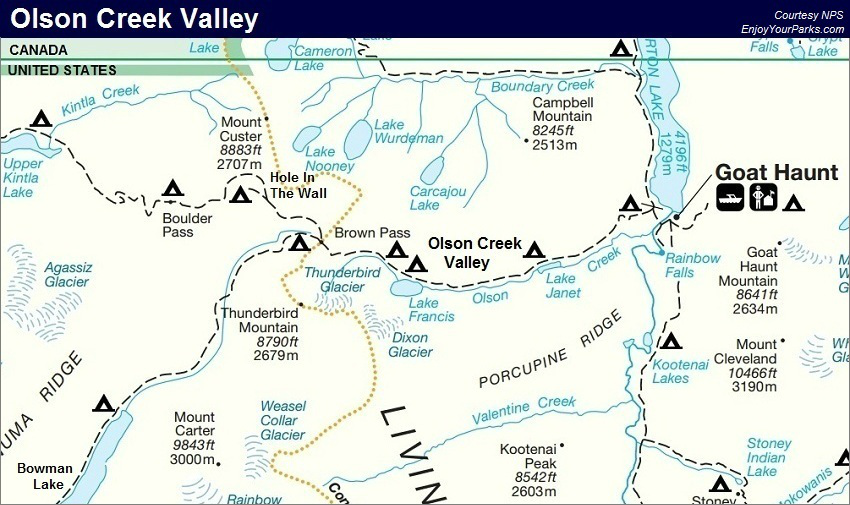 Olson Creek Valley Map, Glacier Park Map