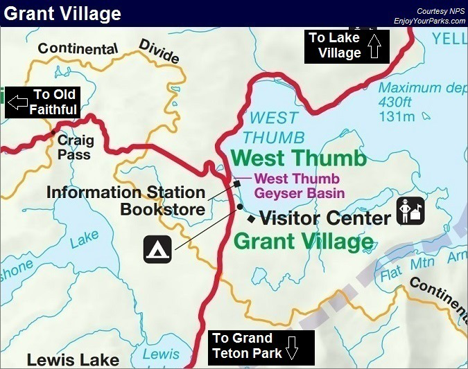 Grant Village Map, Yellowstone National Park Map