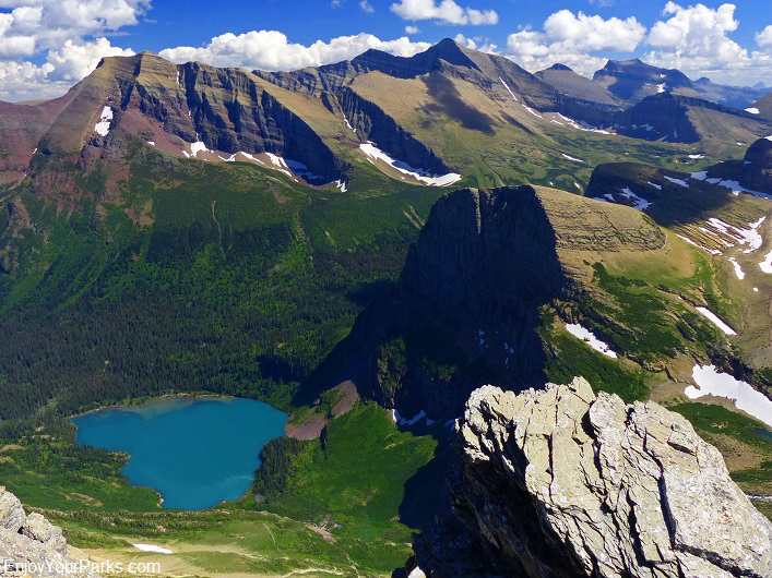 Grinnell Mountain summit view of Grinnell Lake, Glacier National Park