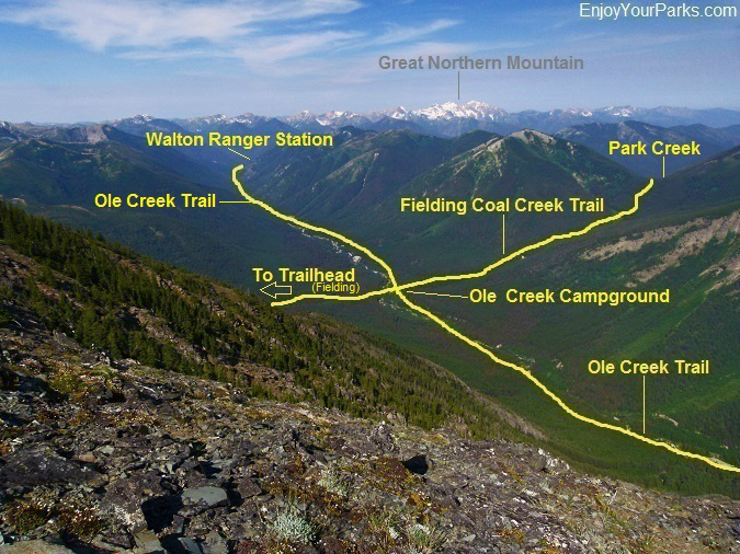 Ole Creek Trail as viewed from Elk Mountain, Glacier National Park