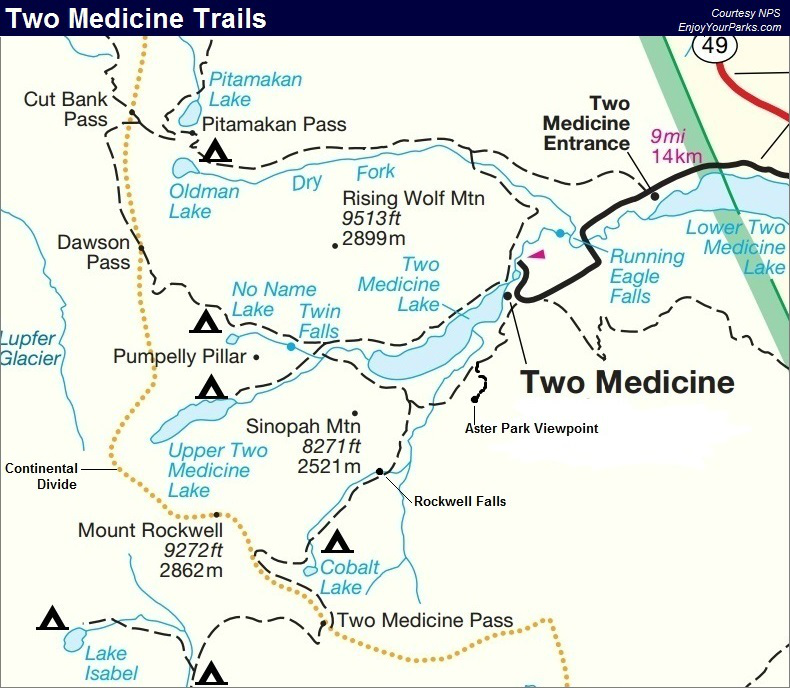 Two Medicine Trail Map, Glacier National Park Map