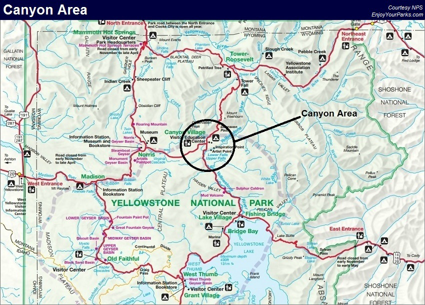 Canyon Area, Yellowstone National Park Map