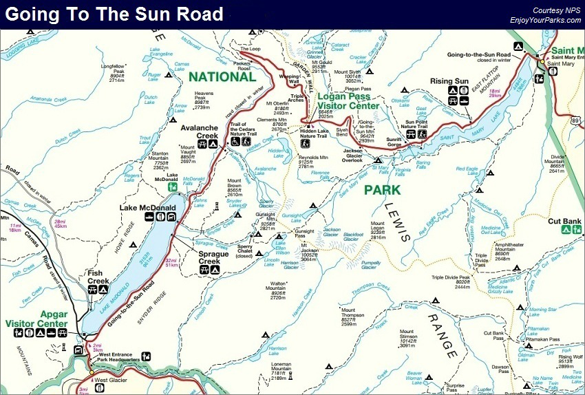Going To The Sun Road Map, Glacier National Park Map