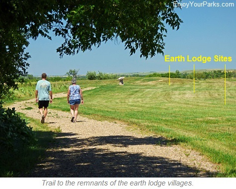 Trail to remnants of the original Earth Lodges, Knife River Indian Village National Historic Site