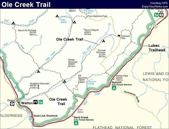 Ole Creek Trail Map, Glacier National Park Map