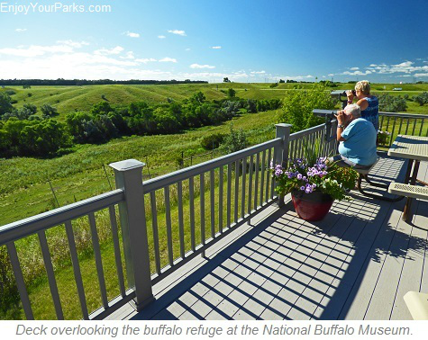 Deck overlooking buffalo refuge, National Buffalo Museum, Jamestown North Dakota