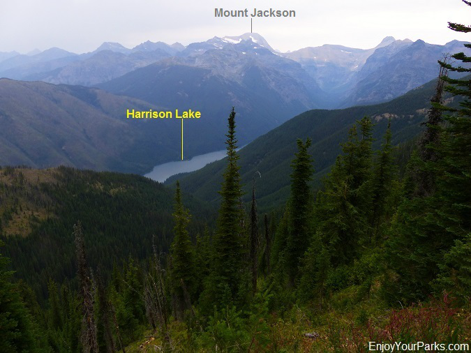 Harrison Lake with Mount Jackson, Loneman Lookout Trail, Glacier National Park