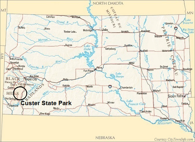 South Dakota Map- Custer State Park