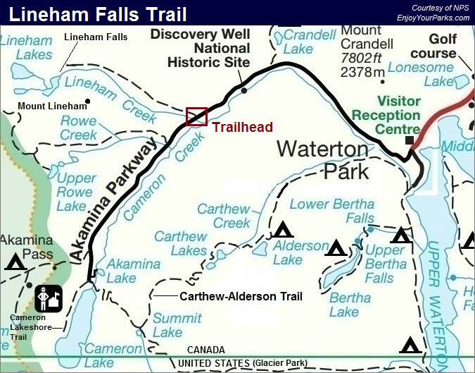 Lineham Falls Trail Map, Waterton Lakes National Park