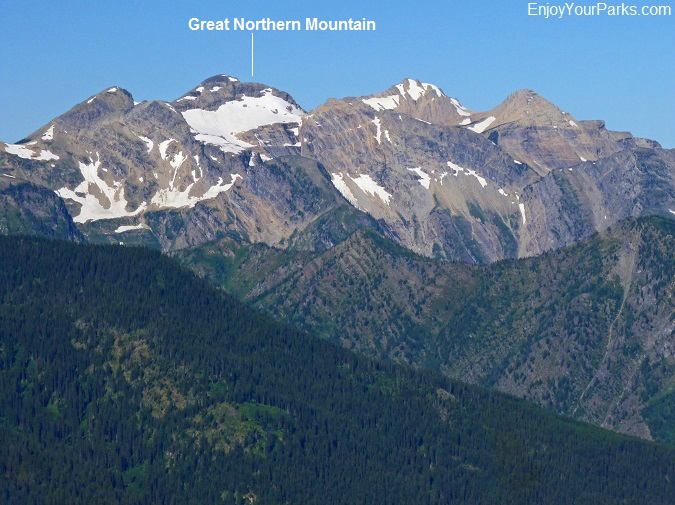A view of Great Northern Mountain from Scalplock Lookout, Glacier National Park