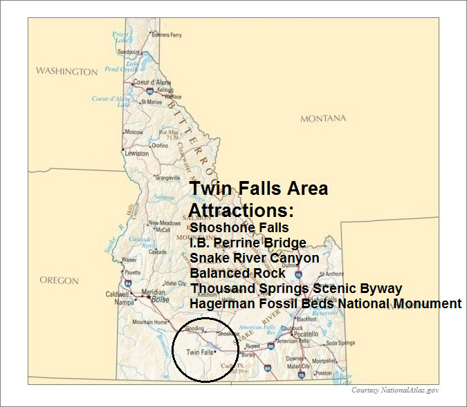 Idaho Map, Twin Falls Area