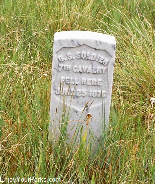 White marble marker, Little Bighorn Battlefield National Monument Montana