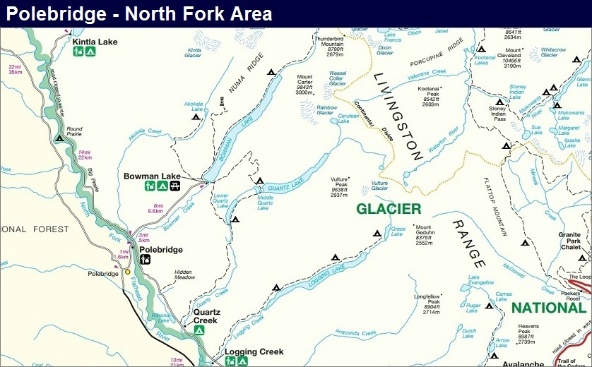 Polebridge - North Fork Map, Glacier Park Map