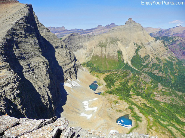 A view of Norris Mountain (left) and Split Mountain (right) from the summit of Triple Divide Peak, Glacier National Park
