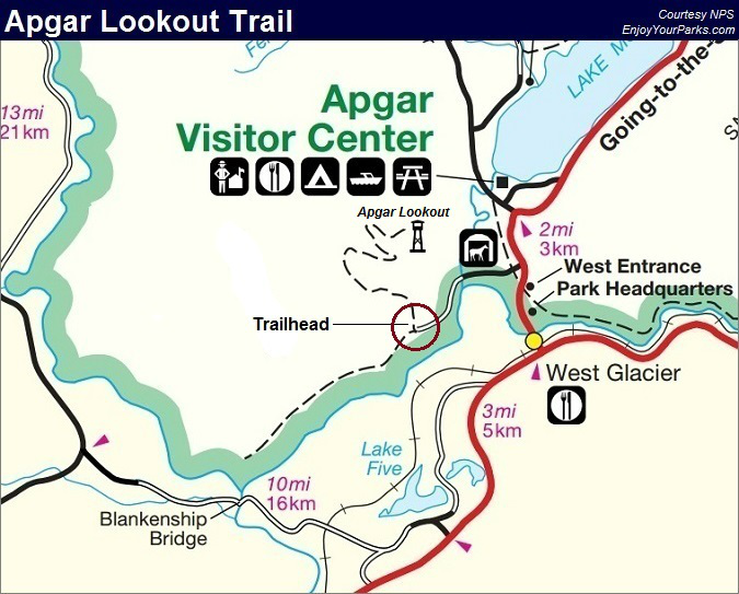 Apgar Lookout Trail Map, Glacier National Park Map