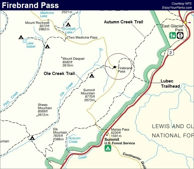 Firebrand Pass Trail Map, Glacier National Park