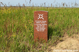 Red marble marker denoting a fallen Indian warrior, Little Bighorn Battlefield National Monument Montana