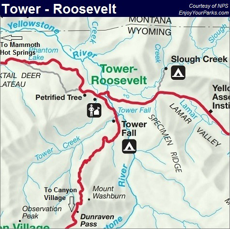 Tower Junction Map, Yellowstone National Park Map
