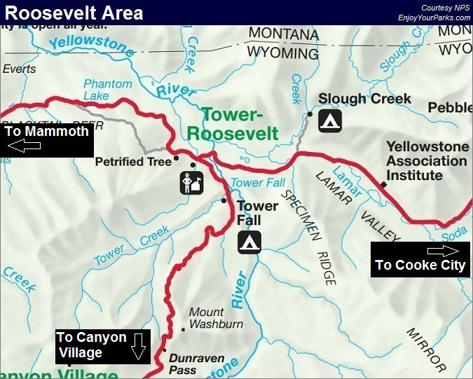 Roosevelt Lodge Area, Yellowstone National Park Map